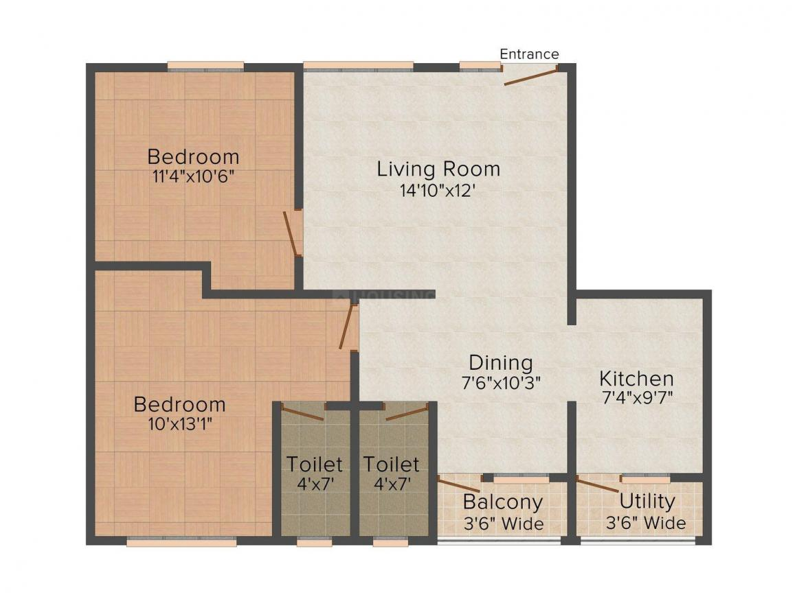 Floor Plan Image of 1030.0 - 1245.0 Sq.ft 2 BHK Apartment for buy in Madras Residency