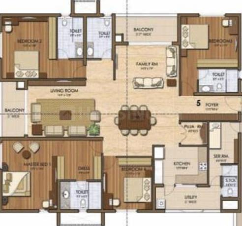 Prestige Ivy League Floor Plan: 4 BHK Unit with Built up area of 3031 sq.ft 1