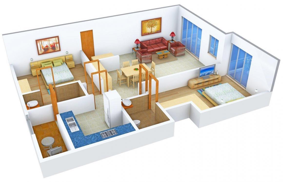 Floor Plan Image of 1160.0 - 2070.0 Sq.ft 2 BHK Apartment for buy in Krupa Hanging Gardens