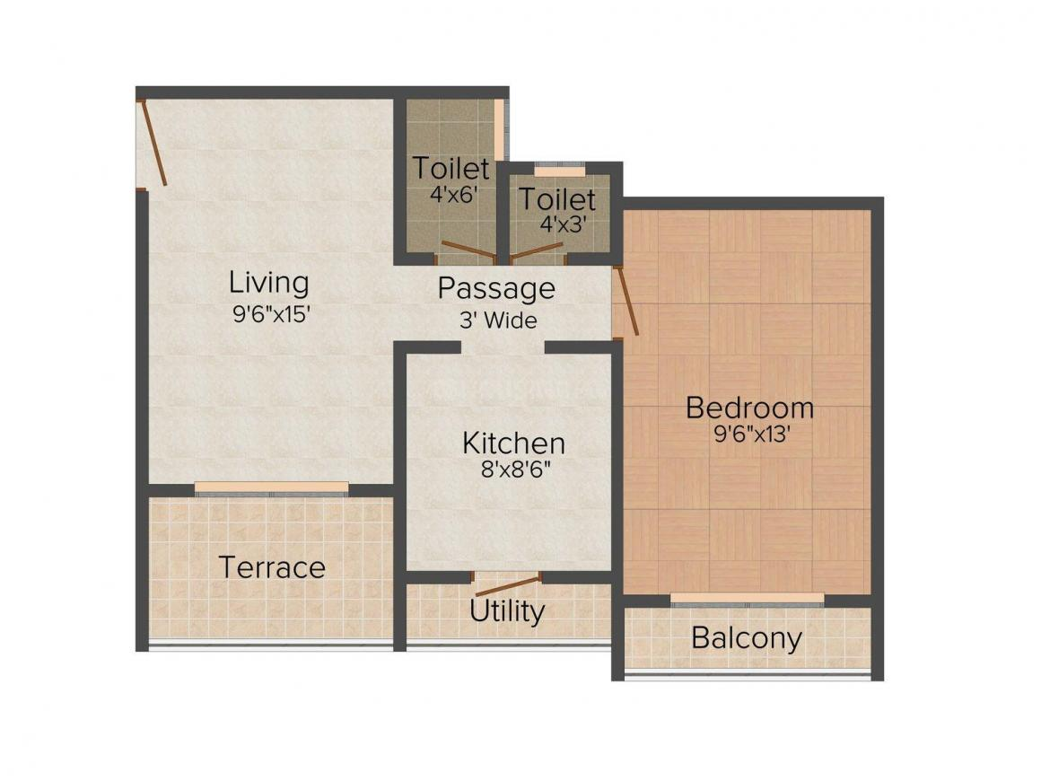 Floor Plan Image of 693 - 1000 Sq.ft 1 BHK Apartment for buy in Bhagirathi Galaxy