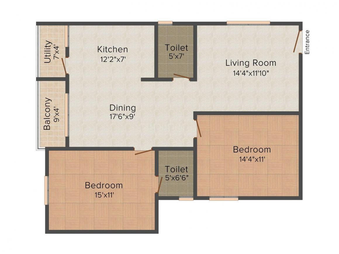 Floor Plan Image of 0 - 1188 Sq.ft 2 BHK Apartment for buy in 99 Zameen Silver Stone
