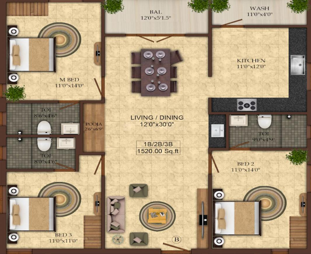 Shree Nivasam Floor Plan: 3 BHK Unit with Built up area of 1520 sq.ft 1
