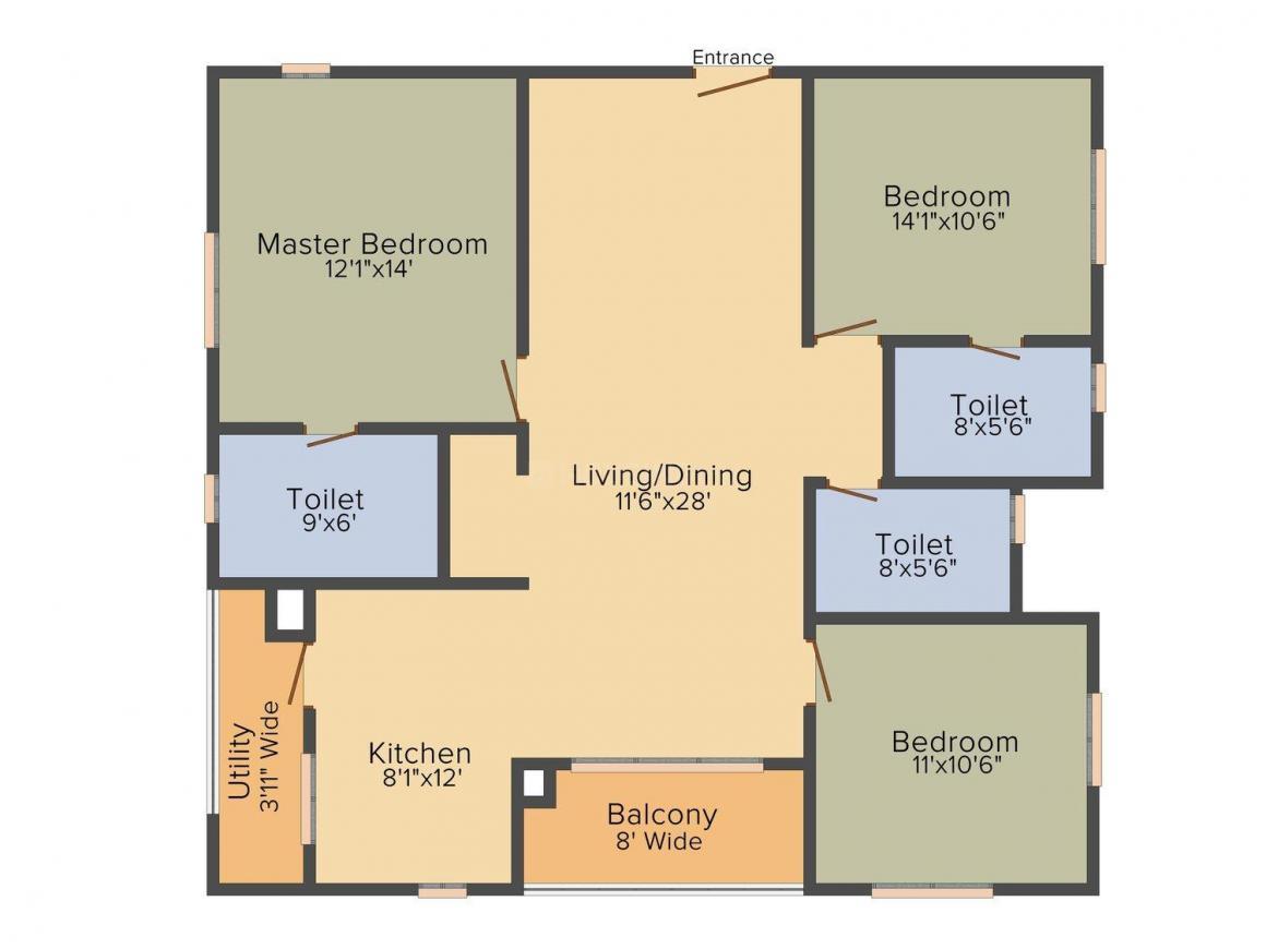 Aparna Constructions Amaravati One Floor Plan: 3 BHK Unit with Built up area of 1562 sq.ft 1