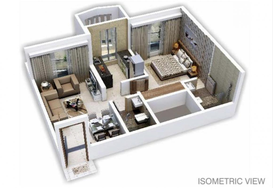 Salasar Exotica I Floor Plan: 1 BHK Unit with Built up area of 437 sq.ft 1
