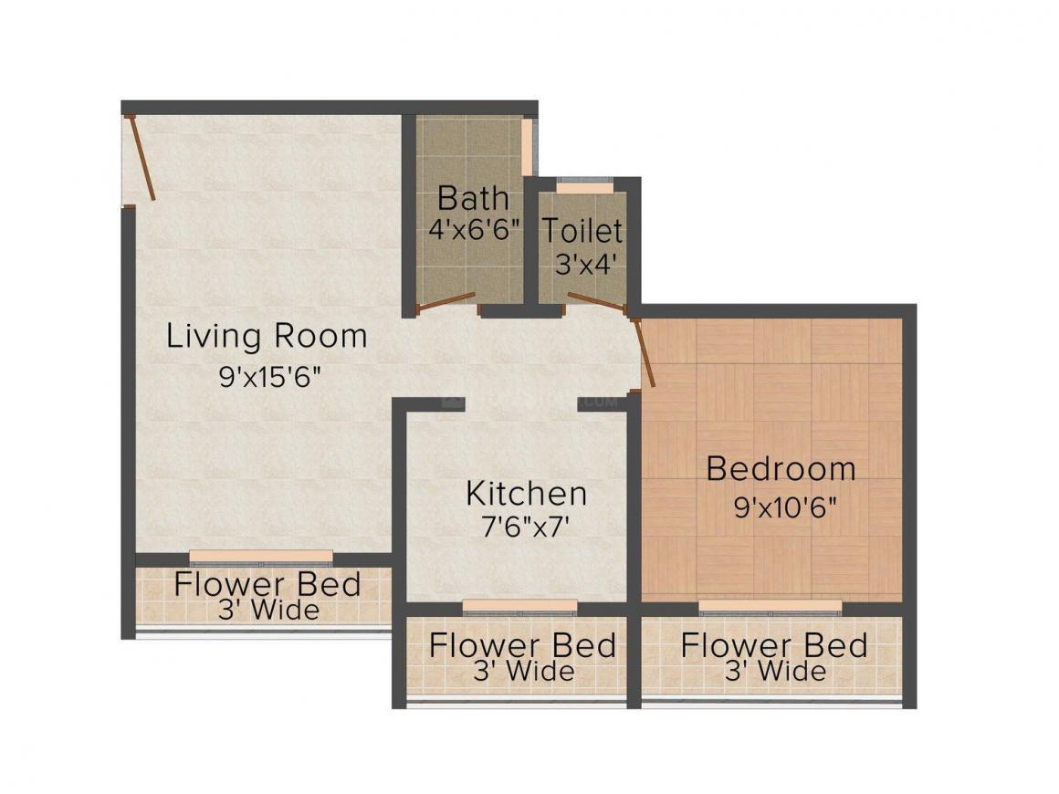 Floor Plan Image of 450.0 - 750.0 Sq.ft 1 BHK Apartment for buy in Three Colours Vasundhara Nagari - Sagar Complex