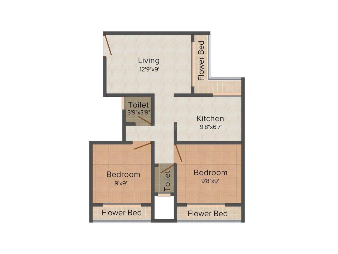 Viscon Ashapura Apartment Floor Plan: 2 BHK Unit with Built up area of 880 sq.ft 1