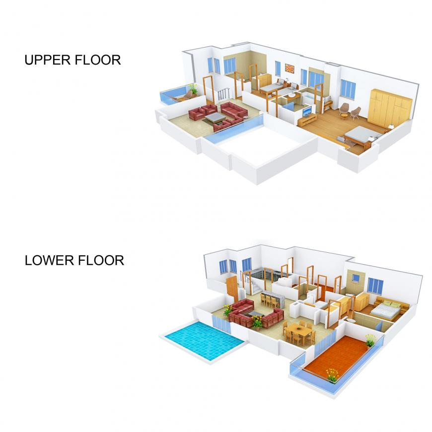 MAK Luxury Villas Floor Plan: 3 BHK Unit with Built up area of 2902 sq.ft 1