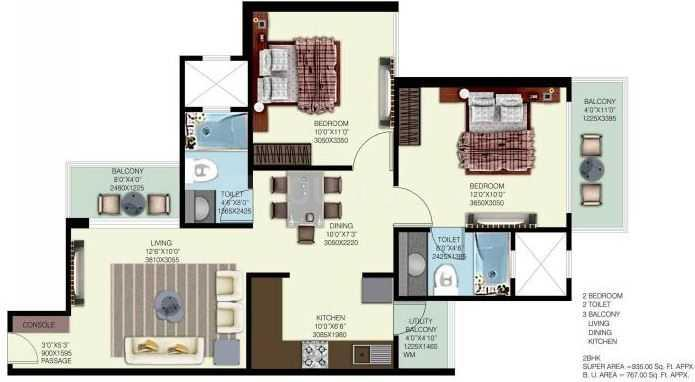 Mahagun Mywoods Phase 3 Floor Plan: 2 BHK Unit with Built up area of 850 sq.ft 1