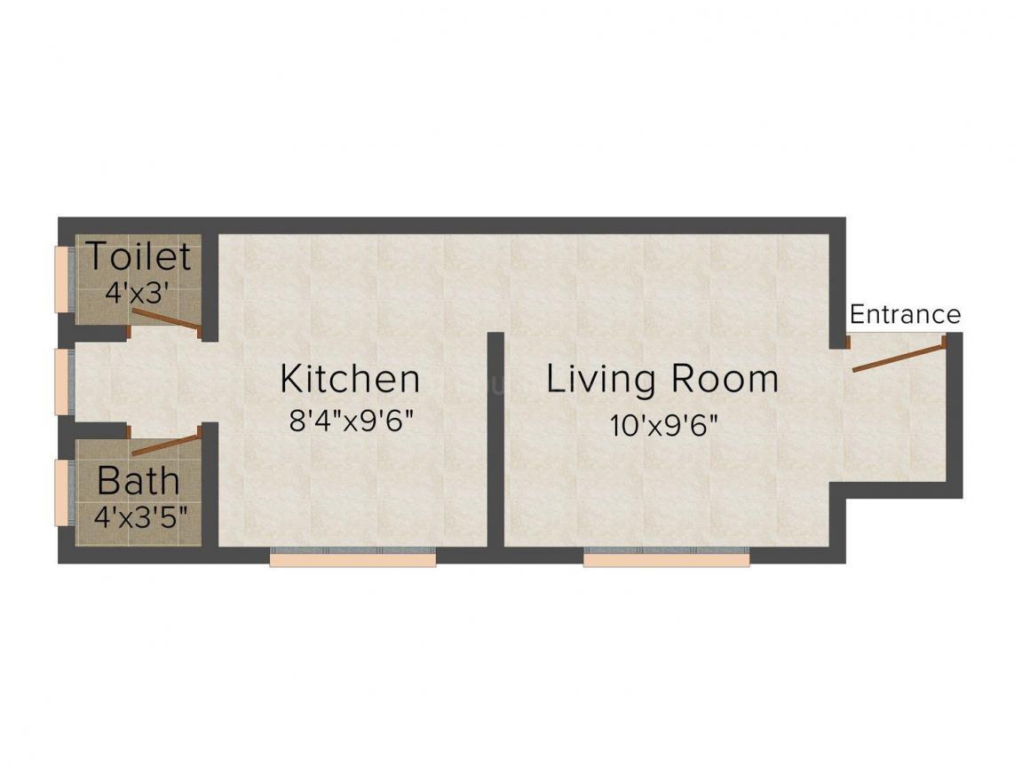 Floor Plan Image of 293.0 - 364.0 Sq.ft 1 RK Apartment for buy in Subhadra Vakratunda