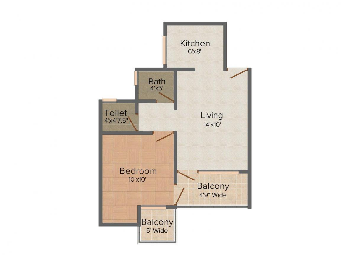Floor Plan Image of 0 - 600 Sq.ft 1 BHK Apartment for buy in Ashwamedh Ashwa Apex