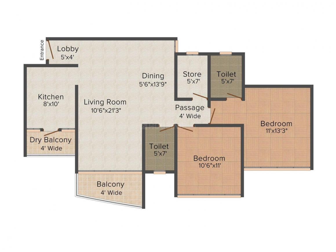 RSGs The Universe Star Floor Plan: 2 BHK Unit with Built up area of 1339 sq.ft 1
