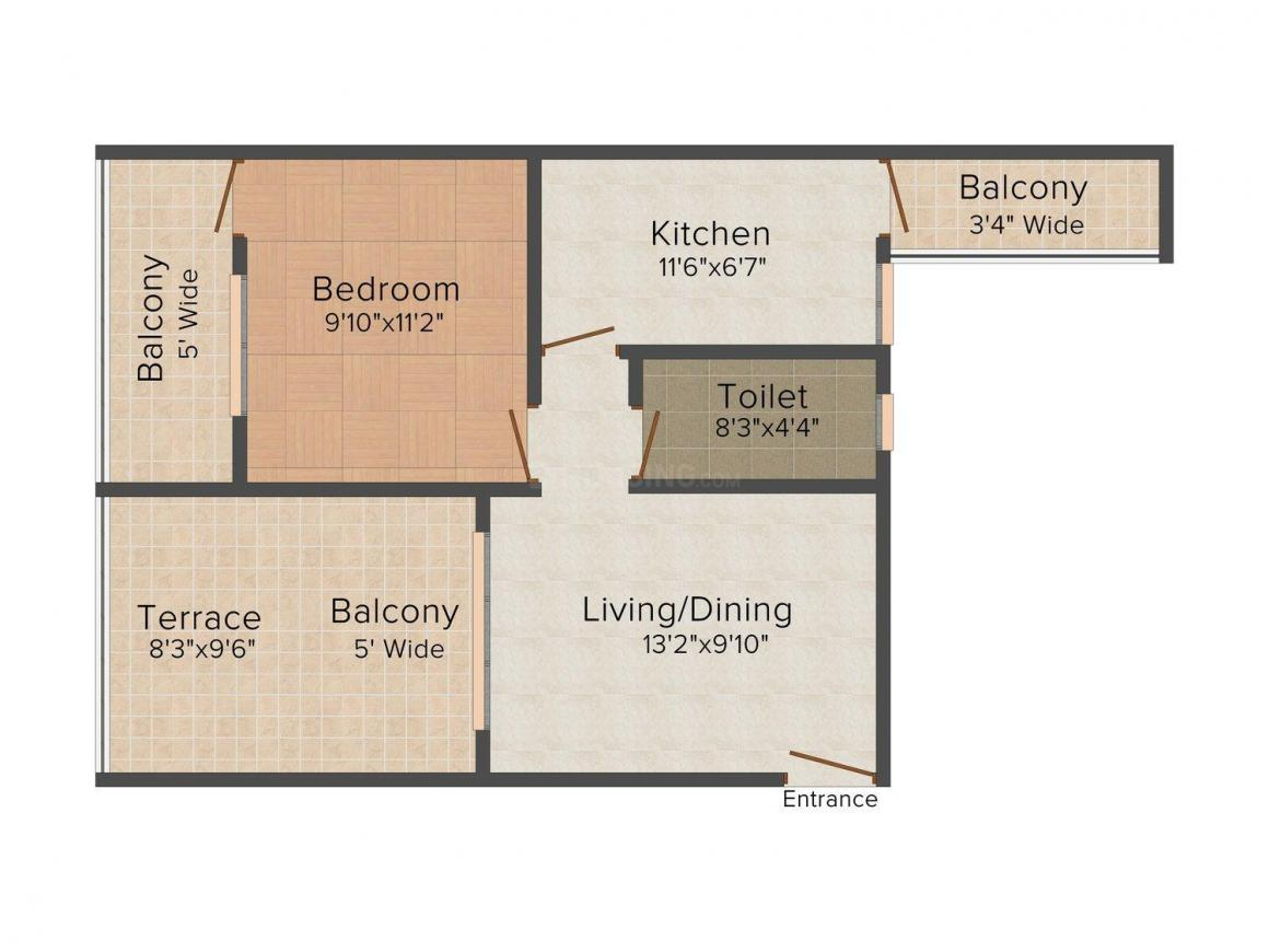 Floor Plan Image of 827.0 - 2023.0 Sq.ft 1 BHK Apartment for buy in Cityscape Copper Leaf