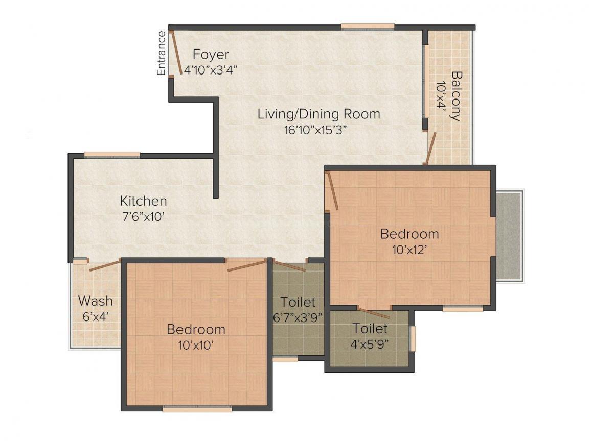 Floor Plan Image of 1063.0 - 1600.0 Sq.ft 2 BHK Apartment for buy in Samyak Calisto