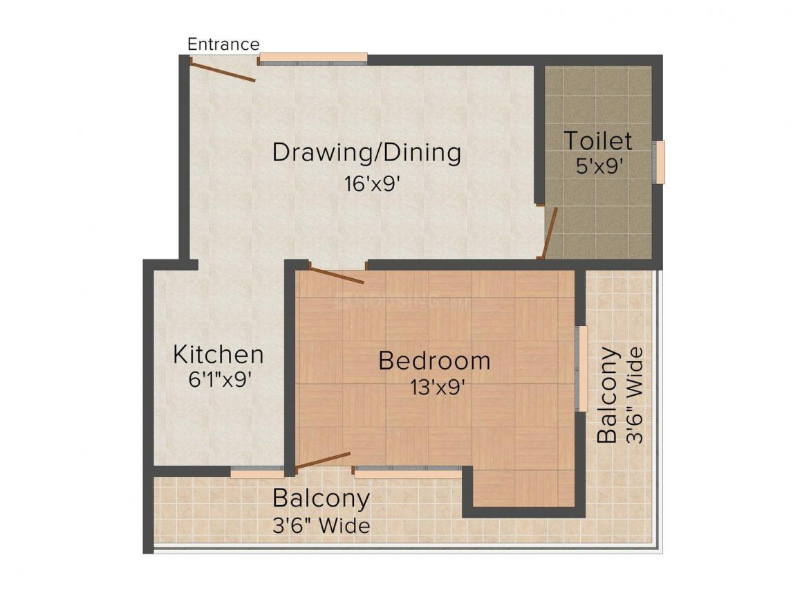 Mastro Residency/Surajpur Floor Plan: 1 BHK Unit with Built up area of 650 sq.ft 1