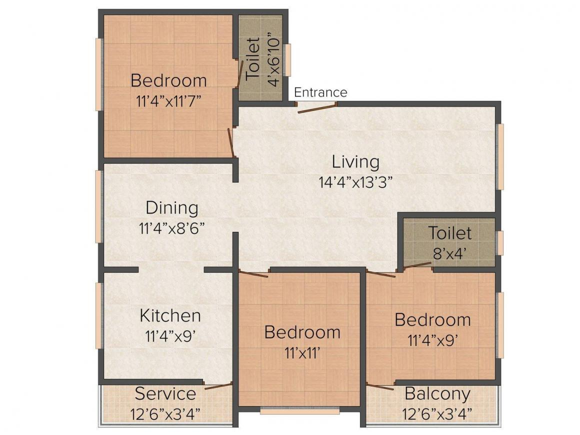 Floor Plan Image of 625 - 1306 Sq.ft 2 BHK Apartment for buy in Naveen Amutha Park