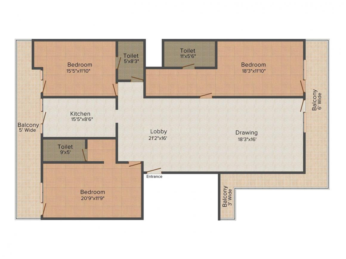 A3S Homes - 7 Floor Plan: 3 BHK Unit with Built up area of 1700 sq.ft 1