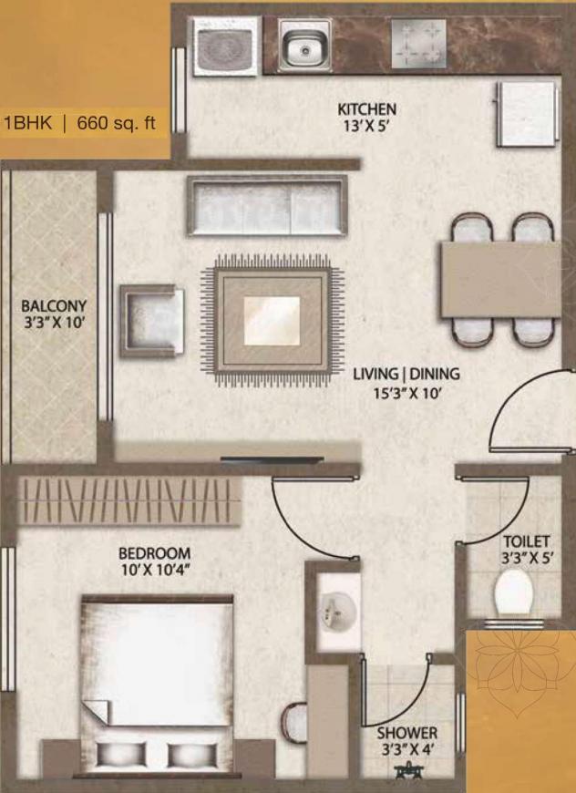 Legacy Vivienda Floor Plan: 1 BHK Unit with Built up area of 397 sq.ft 1