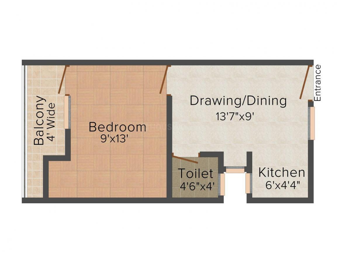 Namah Homes/F - 1 Floor Plan: 1 BHK Unit with Built up area of 600 sq.ft 1