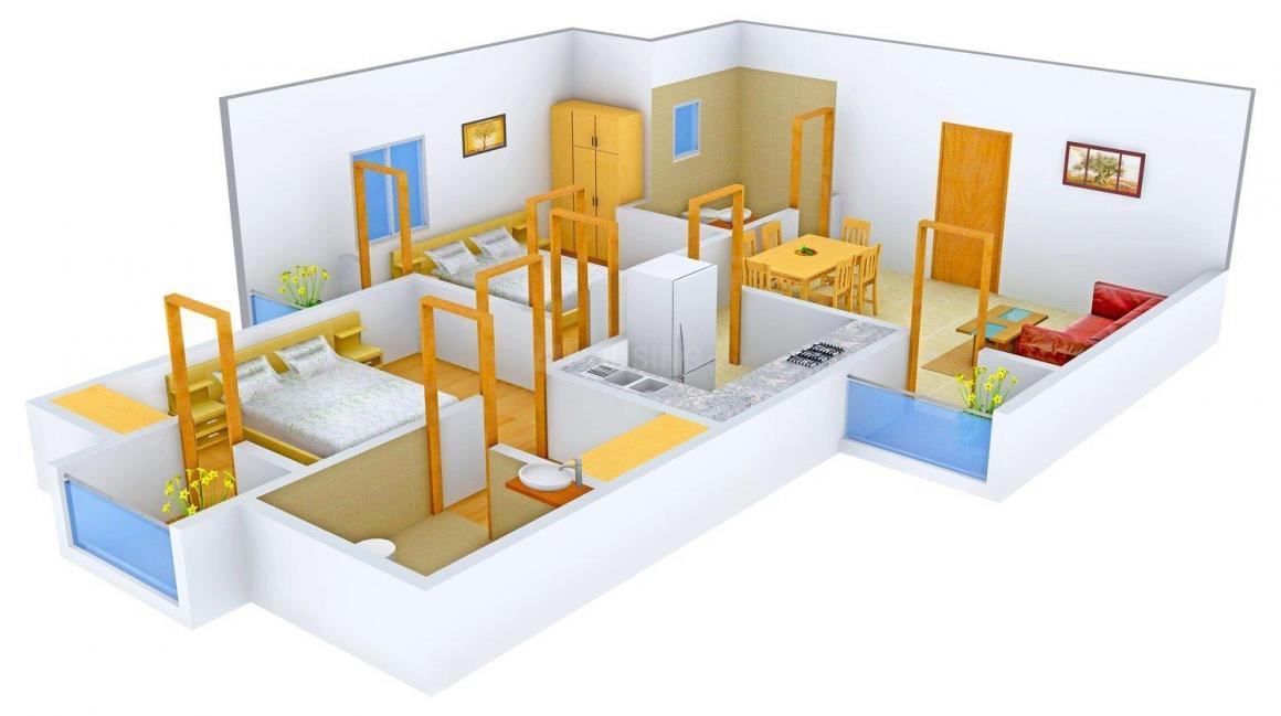 Floor Plan Image of 1022.0 - 2000.0 Sq.ft 2 BHK Apartment for buy in Rudra Aakriti
