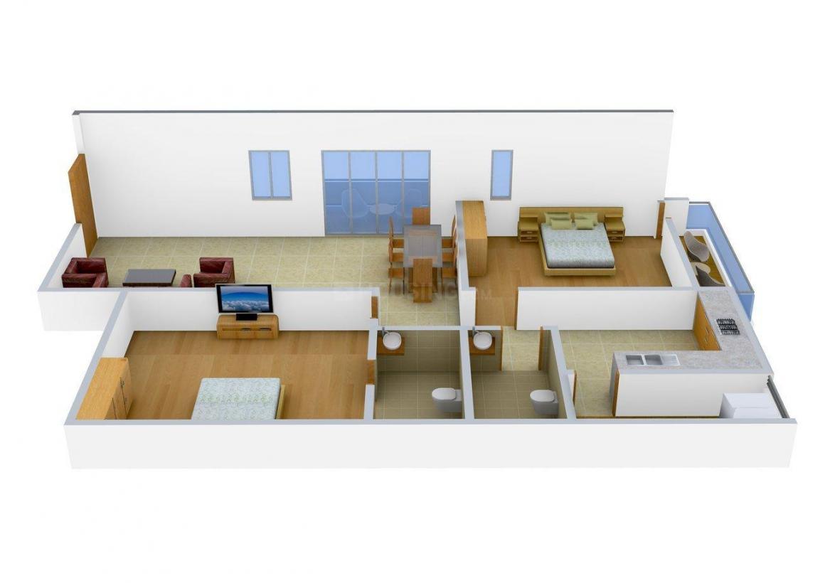 Floor Plan Image of 1175.0 - 1180.0 Sq.ft 2 BHK Apartment for buy in Kamakshi Oak Mont