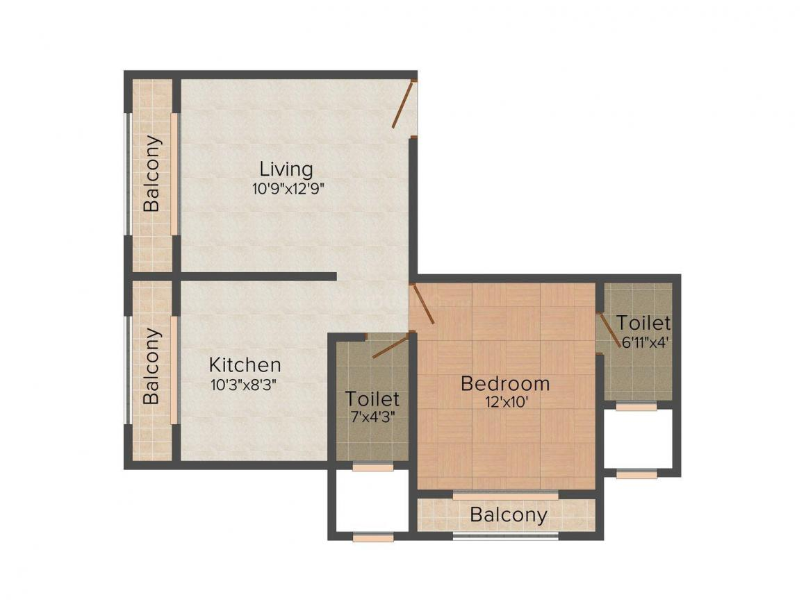 Floor Plan Image of 414.0 - 569.0 Sq.ft 1 BHK Apartment for buy in P. K. Arch