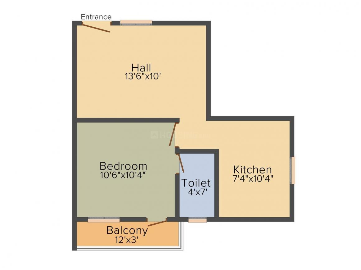 Floor Plan Image of 544 - 862 Sq.ft 1 BHK Apartment for buy in DGM Tejas