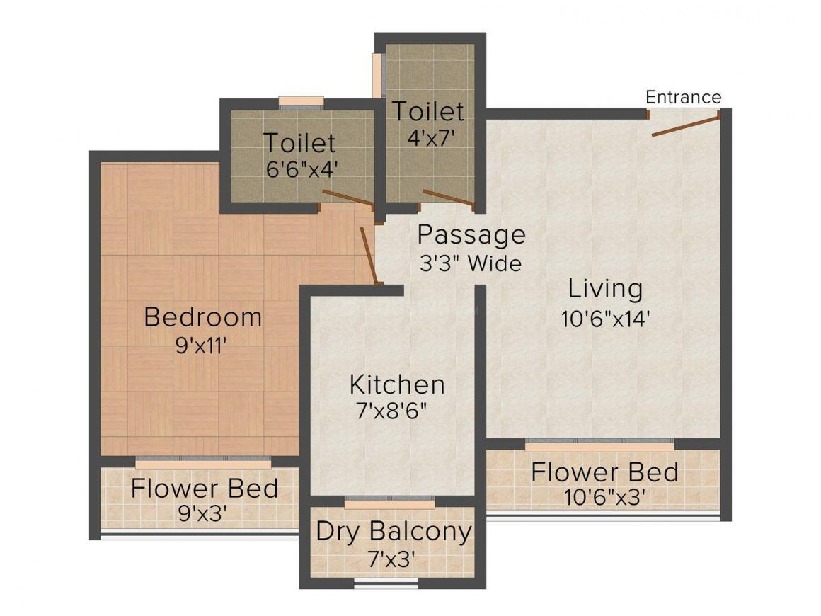 Floor Plan Image of 690.0 - 825.0 Sq.ft 1 BHK Apartment for buy in Arch Garden Phase II