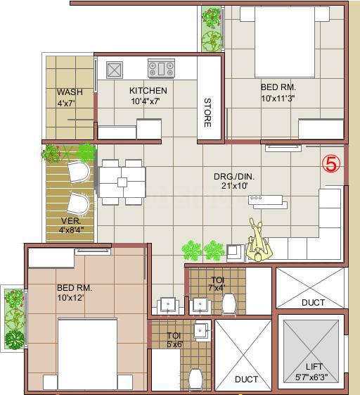 Takshashila Elegna Floor Plan: 2 BHK Unit with Built up area of 135 sq.yd 1
