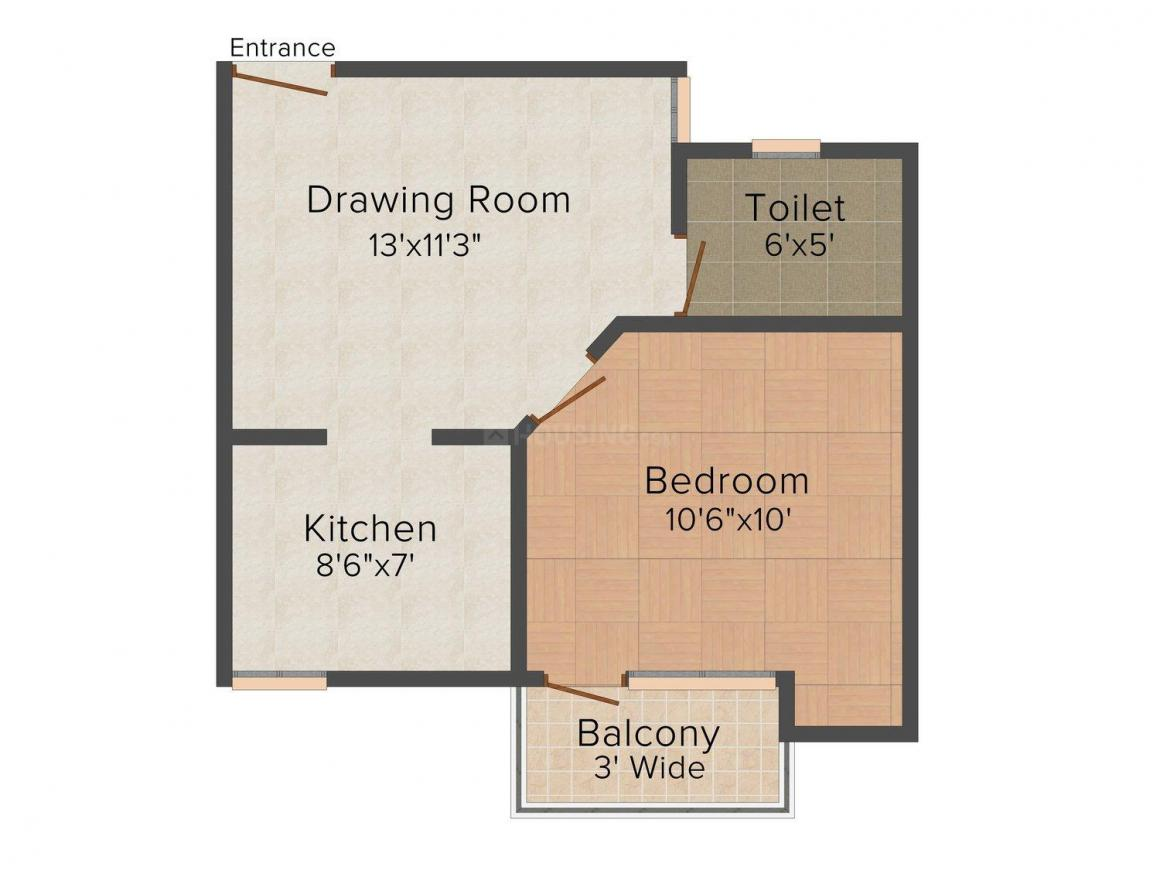 Damle Damodar Vihar Floor Plan: 1 BHK Unit with Built up area of 550 sq.ft 1