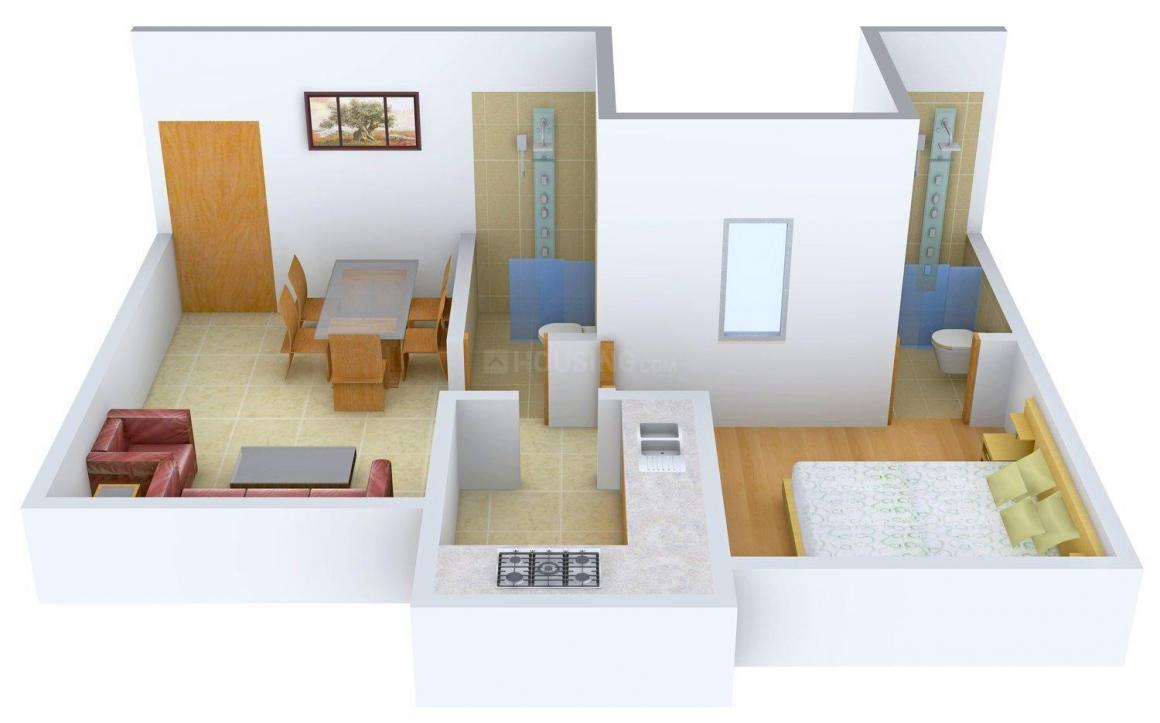 Floor Plan Image of 707.0 - 1071.0 Sq.ft 1 BHK Apartment for buy in Bhola Sai Maple Heights