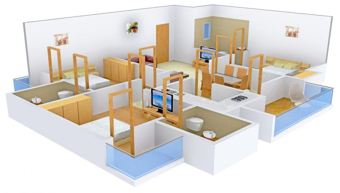 Floor Plan Image of 1280.0 - 1456.0 Sq.ft 3 BHK Apartment for buy in Shekhawati Height's