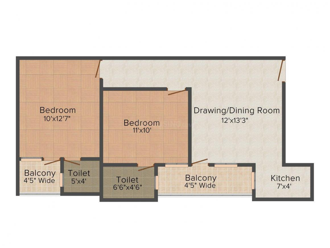 Vikram Apartment - 4 Floor Plan: 2 BHK Unit with Built up area of 800 sq.ft 1