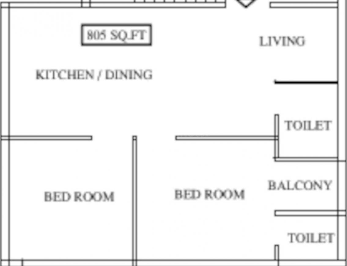 Strong S B Apartment Floor Plan: 2 BHK Unit with Built up area of 805 sq.ft 1