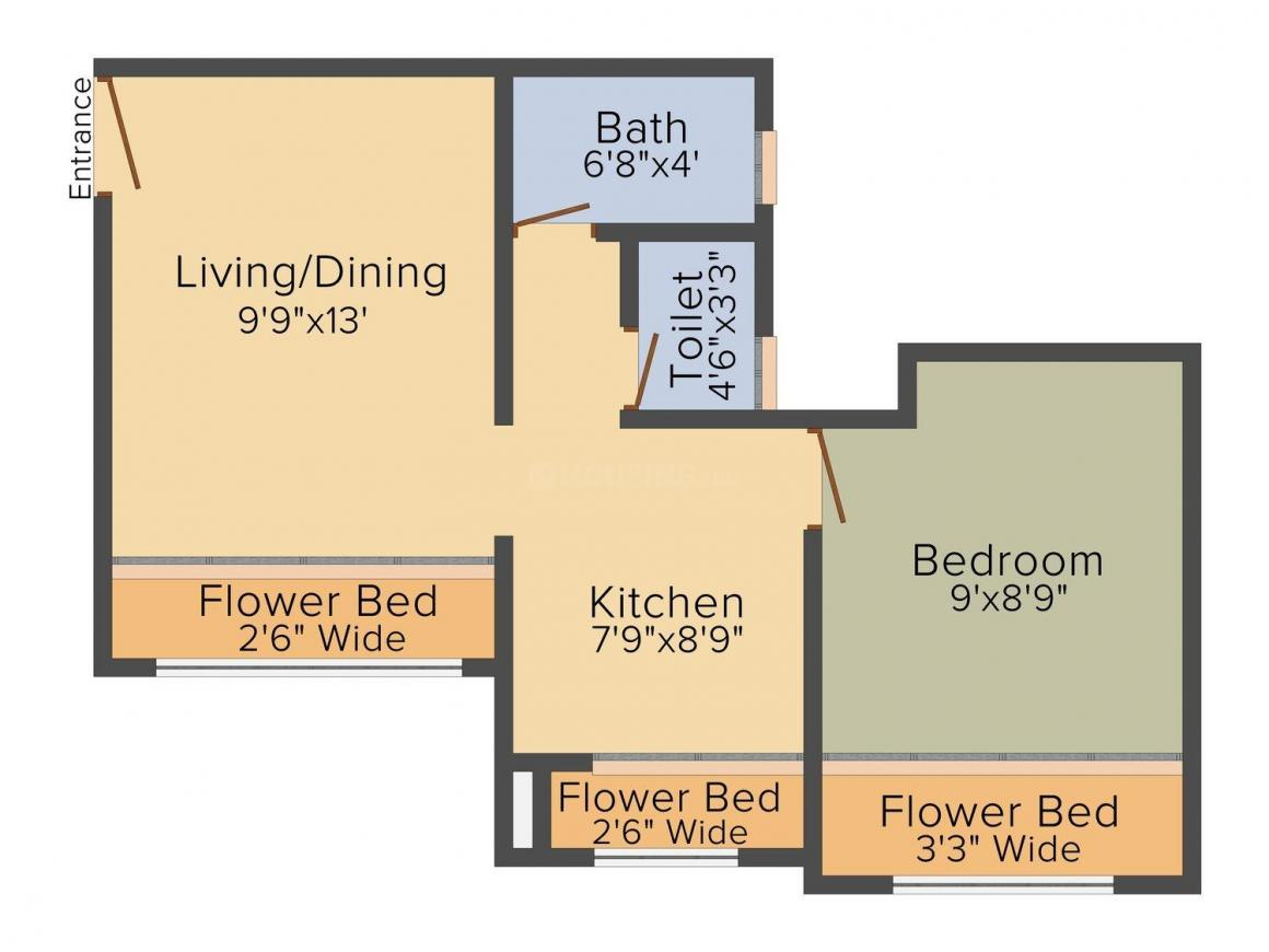 AND Agasan Floor Plan: 1 BHK Unit with Built up area of 342 sq.ft 1