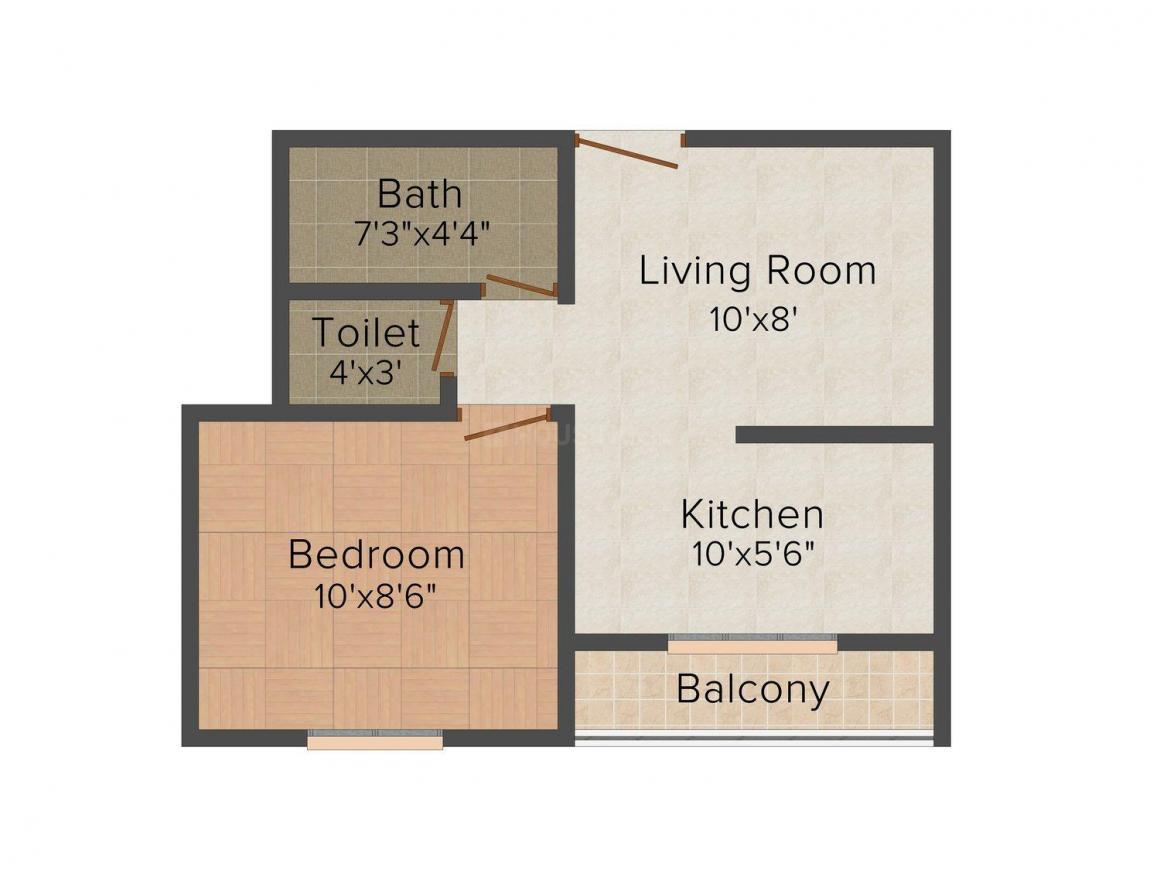 Floor Plan Image of 300.0 - 900.0 Sq.ft 1 BHK Apartment for buy in Krunal Indigo Riverside Residences