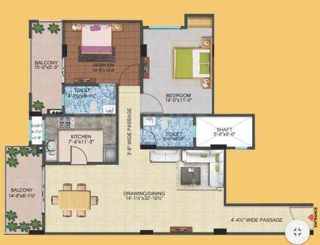 Alokik Mayur Dhwaj Grand Floor Plan: 2 BHK Unit with Built up area of 1525 sq.ft 1