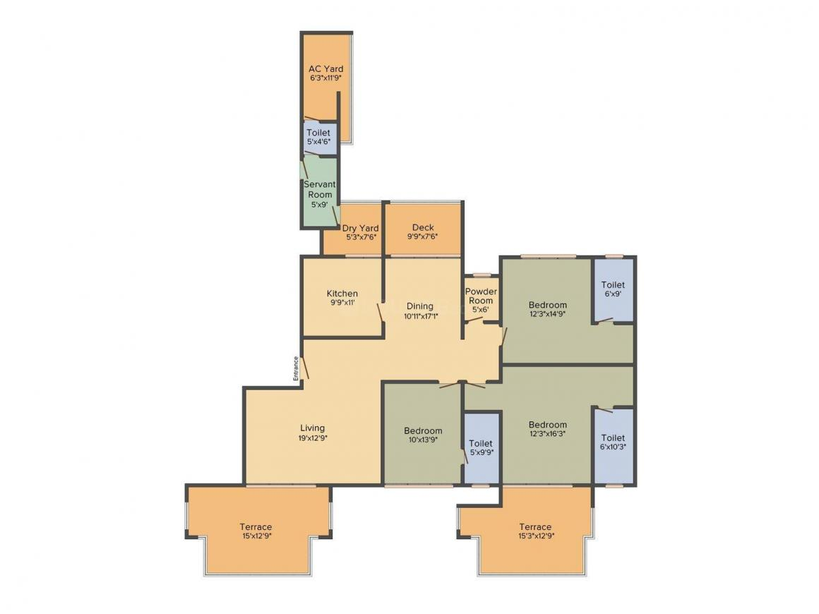 DB Golf Links Floor Plan: 3 BHK Unit with Built up area of 1314 sq.ft 1