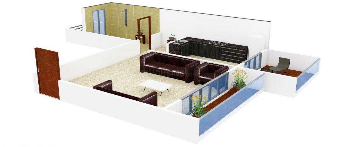 Floor Plan Image of 454.0 - 695.0 Sq.ft 1 BHK Apartment for buy in Aristo Krishna Residency