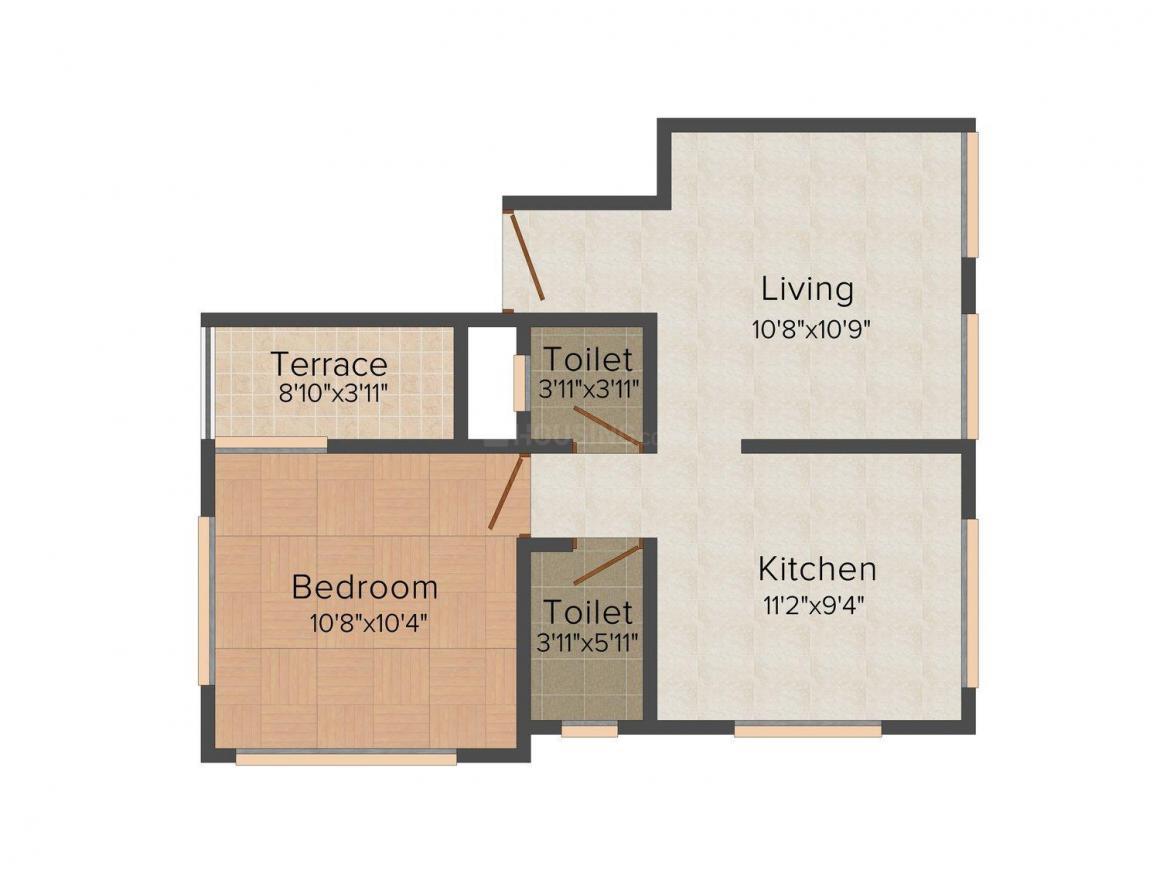 Devraj Nirmiti Floor Plan: 1 BHK Unit with Built up area of 587 sq.ft 1