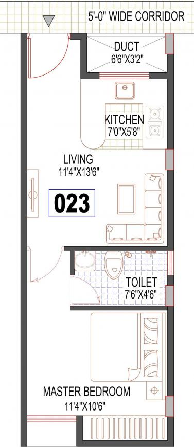 New Dimensions Fifth Element Floor Plan: 1 BHK Unit with Built up area of 477 sq.ft 1