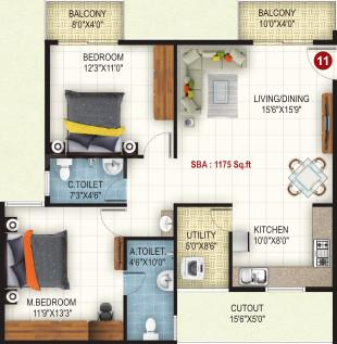 United Dreams Floor Plan: 2 BHK Unit with Built up area of 1175 sq.ft 1