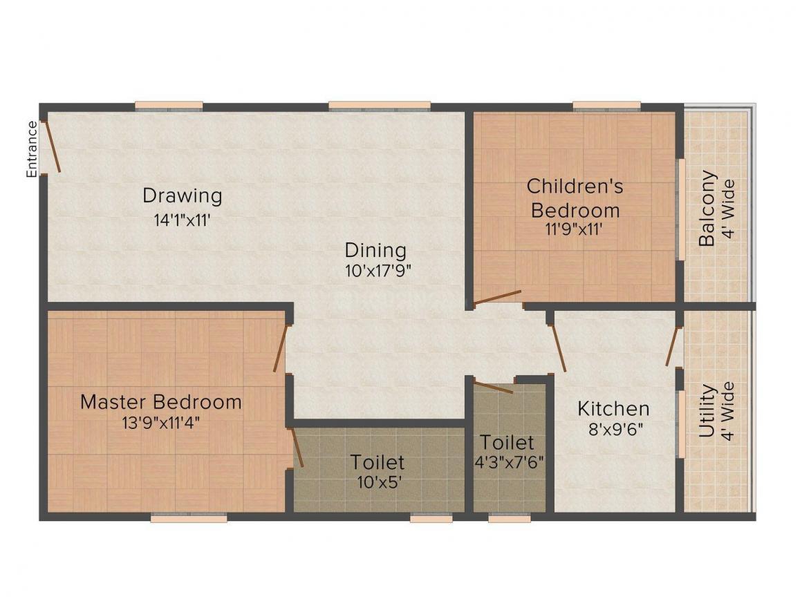 Floor Plan Image of 0 - 1005.0 Sq.ft 2 BHK Apartment for buy in Siddhivinayak Vedant Residency