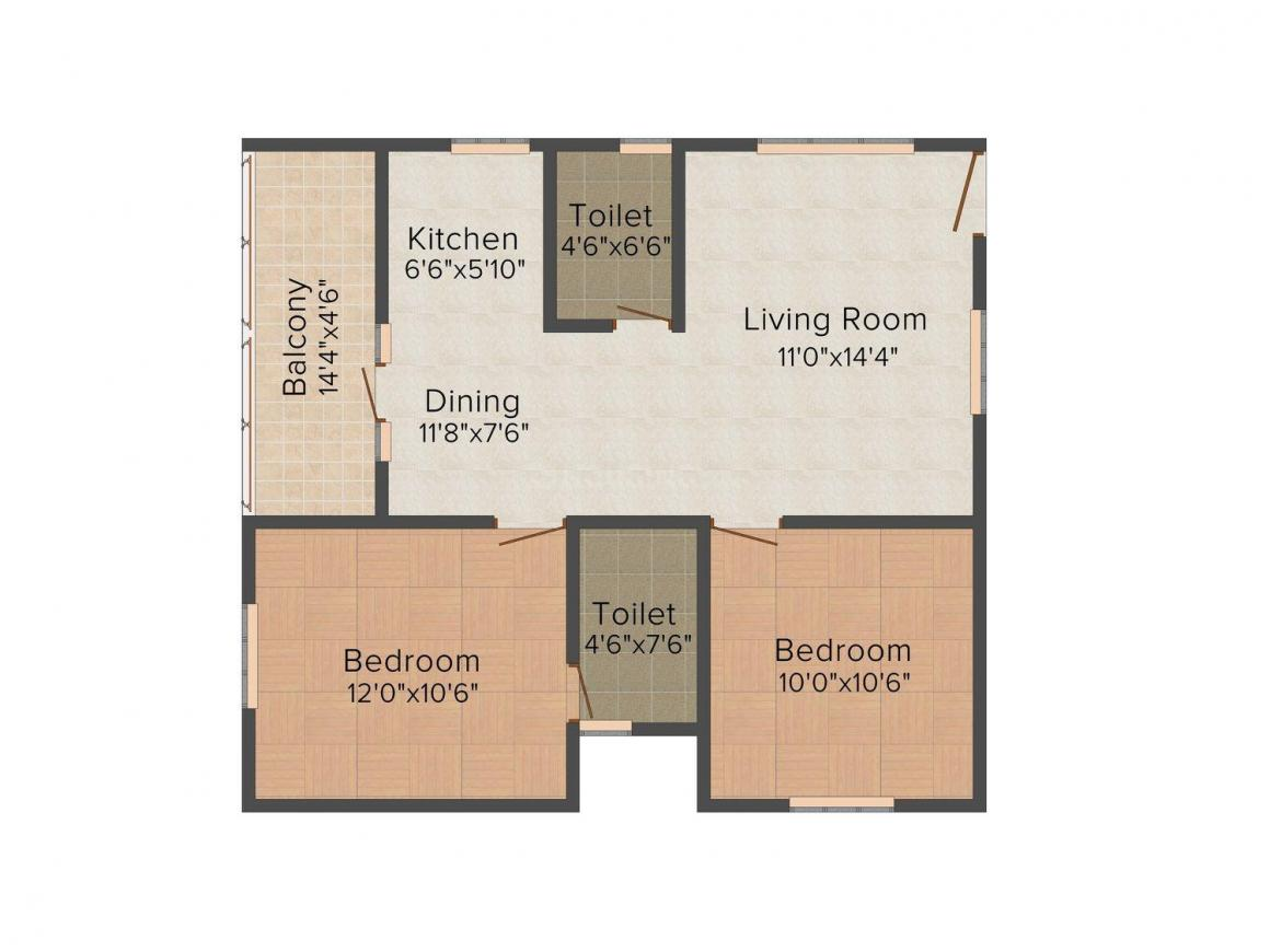 Floor Plan Image of 972.0 - 1470.0 Sq.ft 2 BHK Apartment for buy in Prabhavathi Comforts
