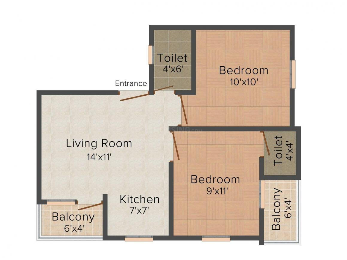 MDKJ Homes - VIII Floor Plan: 2 BHK Unit with Built up area of 594 sq.ft 1
