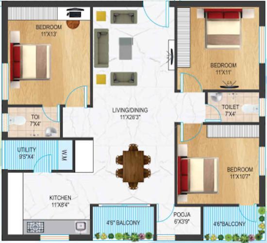 Raki Chandrika Vilaasini Mohana Floor Plan: 3 BHK Unit with Built up area of 931 sq.ft 1