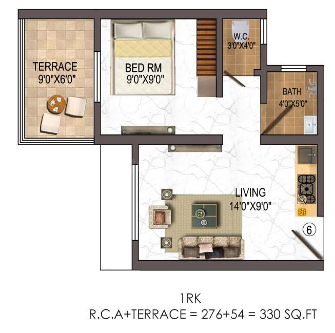 Balaji Estate Floor Plan: 1 BHK Unit with Built up area of 331 sq.ft 1