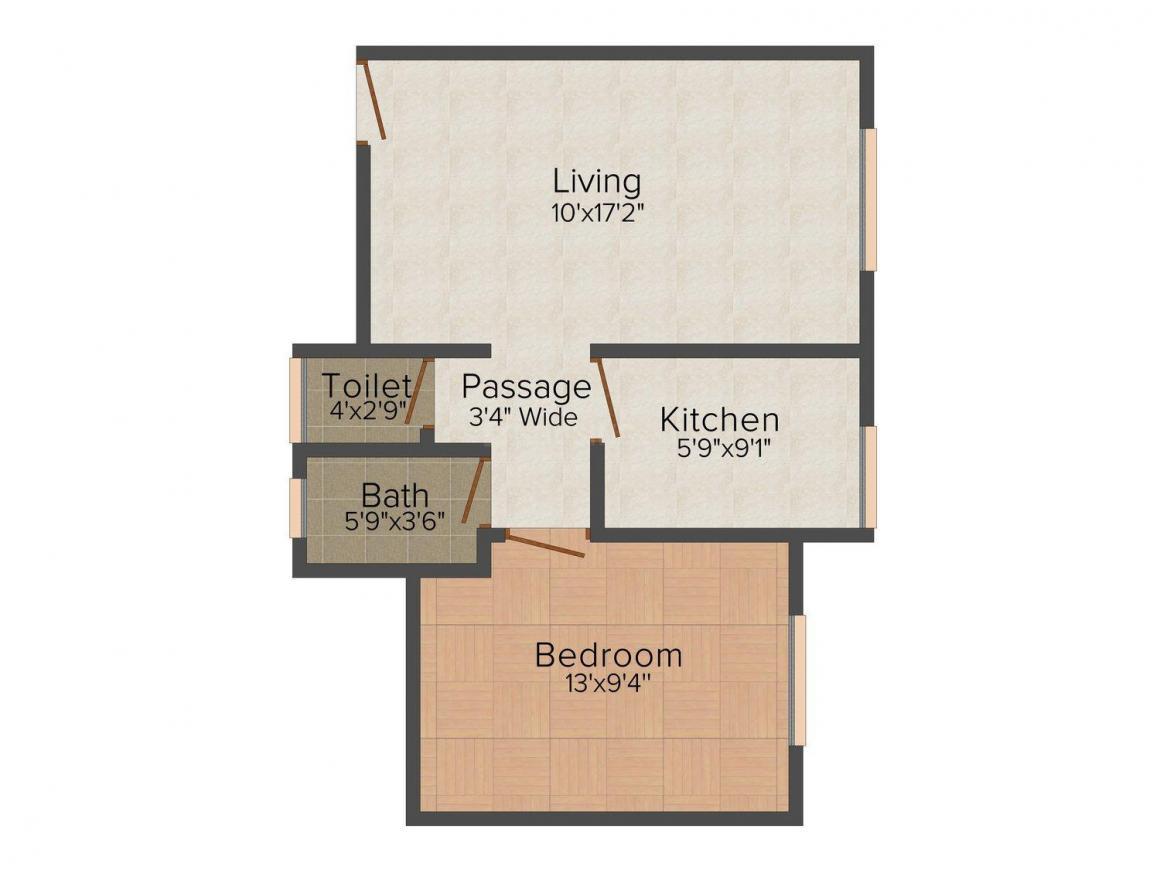 Rupji Memories Floor Plan: 1 BHK Unit with Built up area of 622 sq.ft 1