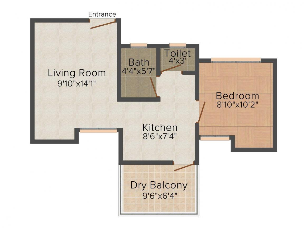 First Shilpatara Floor Plan: 1 BHK Unit with Built up area of 615 sq.ft 1