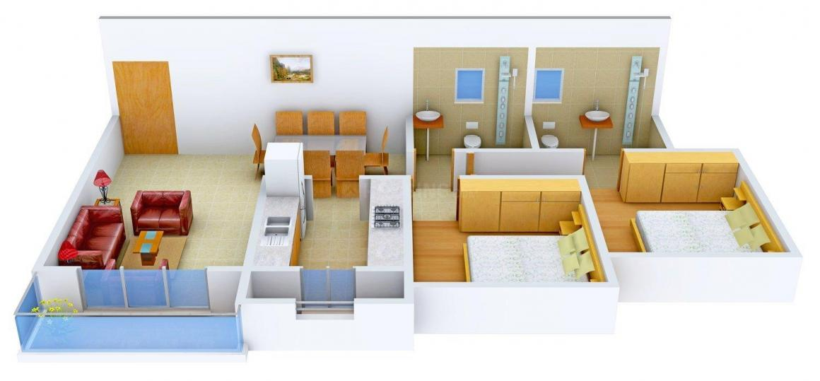 Floor Plan Image of 780.0 - 1055.0 Sq.ft 2 BHK Apartment for buy in Divine Space Lily White
