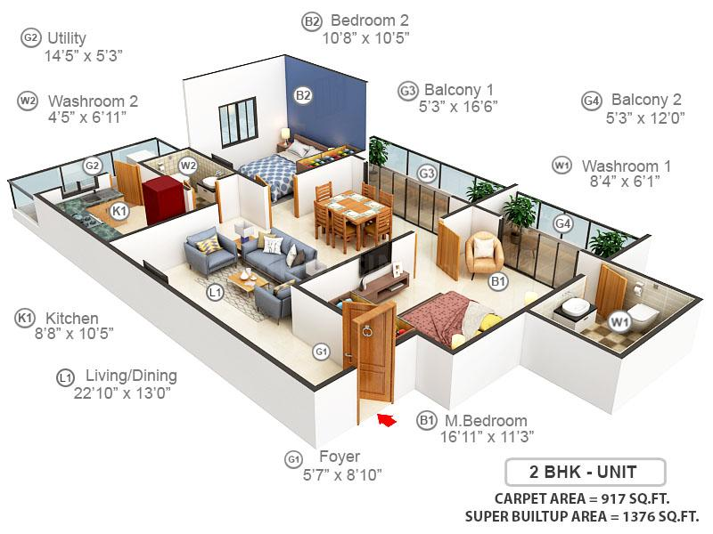 MH Alta Monte Floor Plan: 2 BHK Unit with Built up area of 917 sq.ft 1